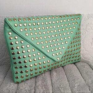 Mint green studded envelope crossbody bag clutch